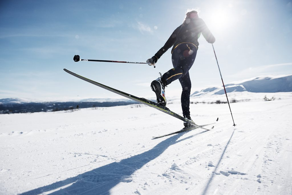 Skier in outdoor lifestyle photoshoot
