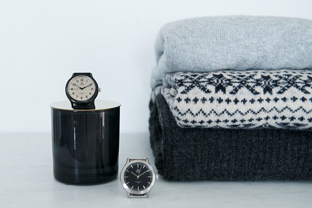 Watches and and knitted sweaters in lifestyle photography
