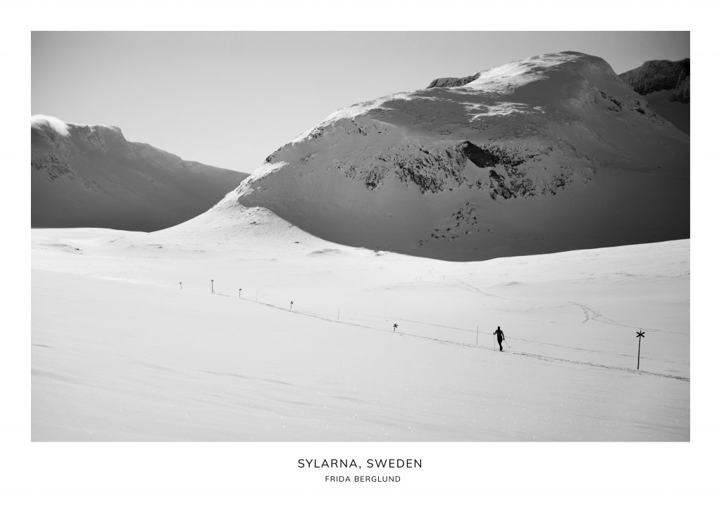 Skier in the snow by a mountin Sylarna Sweden